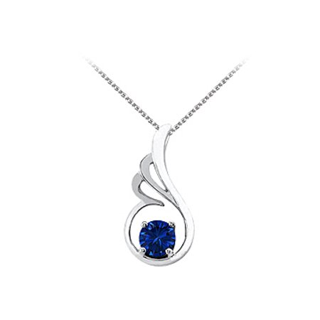 September Birthstone Sapphire Pendant In 925 Sterling Silver With Free Chain Fabulous Price
