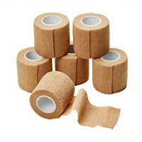 MEDca Self Adherent Cohesive Wrap Bandages 2 Inches X 5 Yards 6 Count with Strong Elastic First Aid Tape for Sprain Swelling and Soreness on Wrist and Ankle (Skin Color)