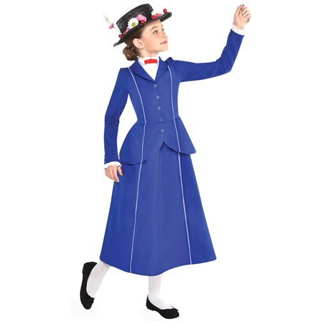 Disney Mary Poppins Costume (Suit Yourself Mary Poppins Costume for Girls, Includes a Detailed Blue and White Dress and a Floral)