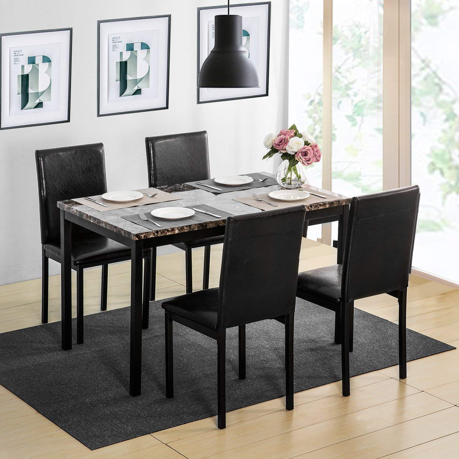 Ordinaire Harper U0026 Bright Designs 5 Piece Faux Marble And PU Leather Dining Set