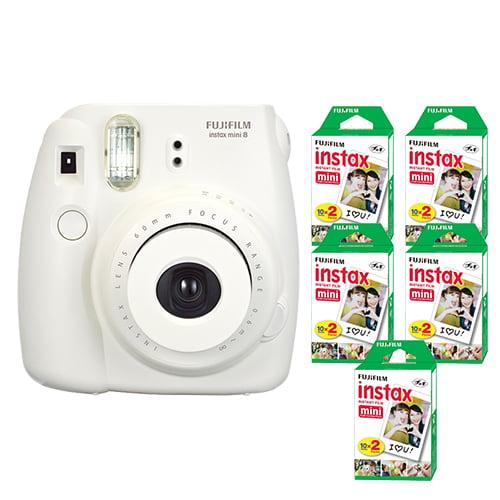 FujiFilm Instax Mini 8 Fuji Instant Film Camera White + 100 SHeets Instant Film by Fujifilm