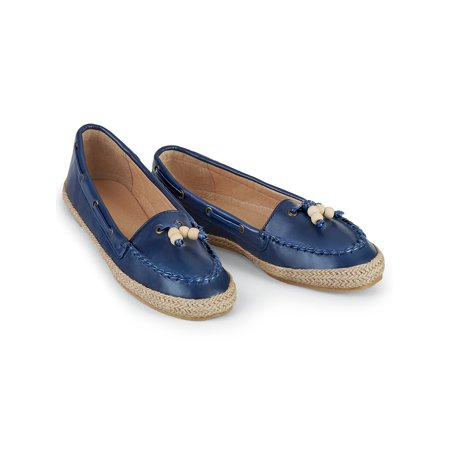 Beaded Tassel Leather-like Moccasin Style Slip-on Rope Sole Shoes, 11, - Tassel Slip
