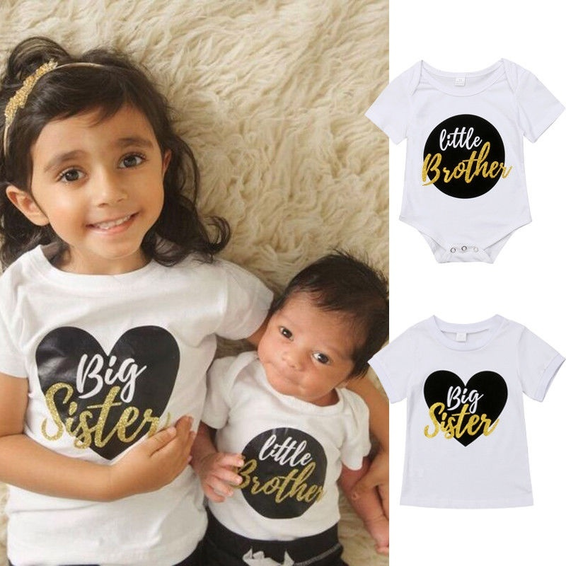 Life is Better with A Brother or Sister T-Shirt Toddler Boys Girls Casual Short Sleeve Sibling Shirt Black