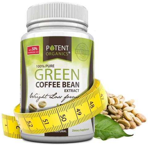 Potent Organics 100% Pure Green Coffee Bean Extract - Standardised to 50% Chlorogenic Acid - High GCA - Patented extract. 60 Veg Caps