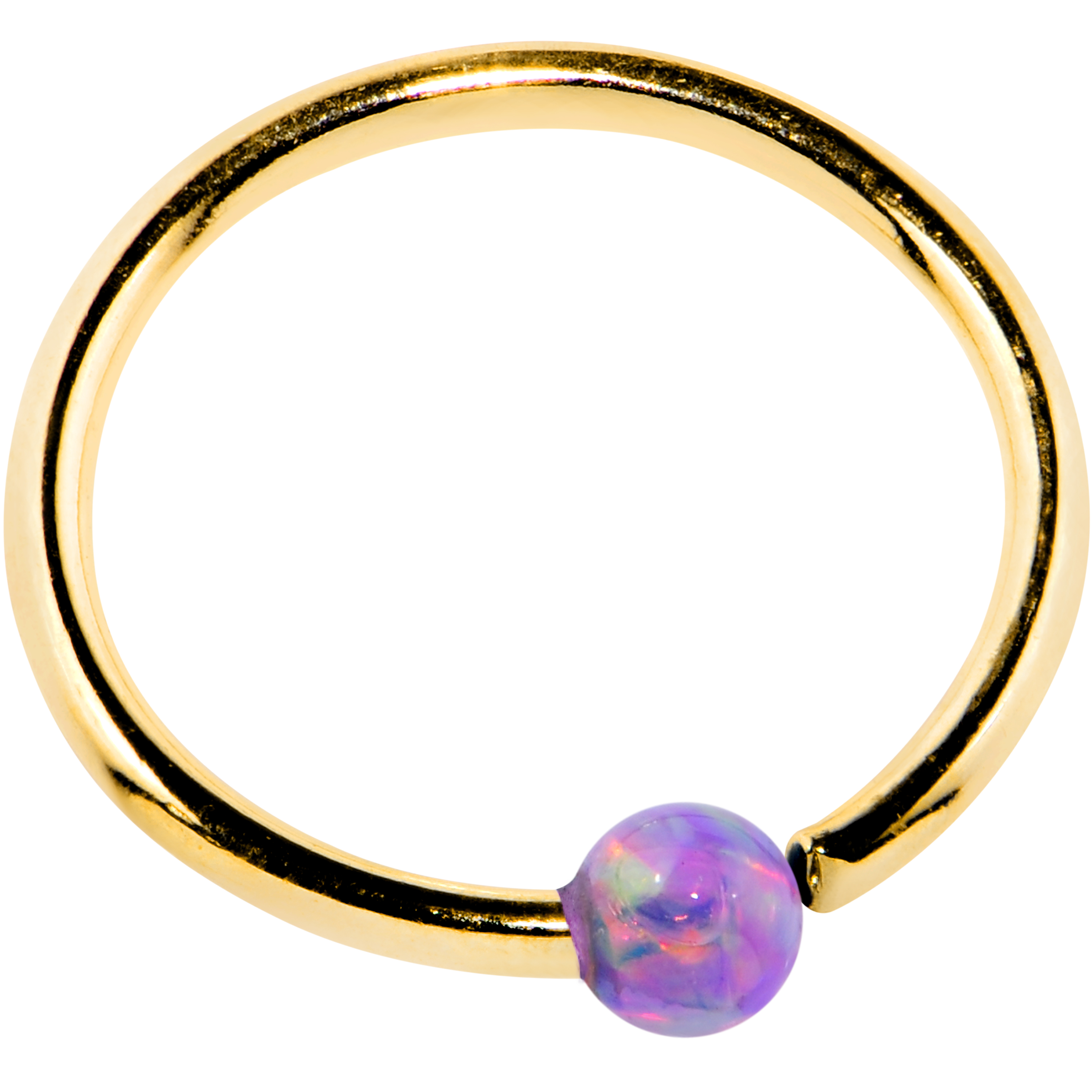 Body Candy 14k Yellow Gold 2mm Purple Synthetic Opal BCR ...