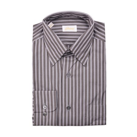 Brioni Dress Shirts (Brioni Mens Brown Pinstripe Cotton Button Down Dress Shirt)