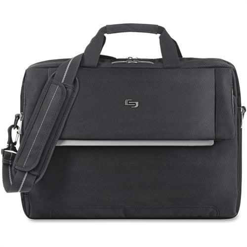 """SOLO Slim Brief Classic 15.6"""" Carry Handles Rem Shoulder Strap BK P154"""