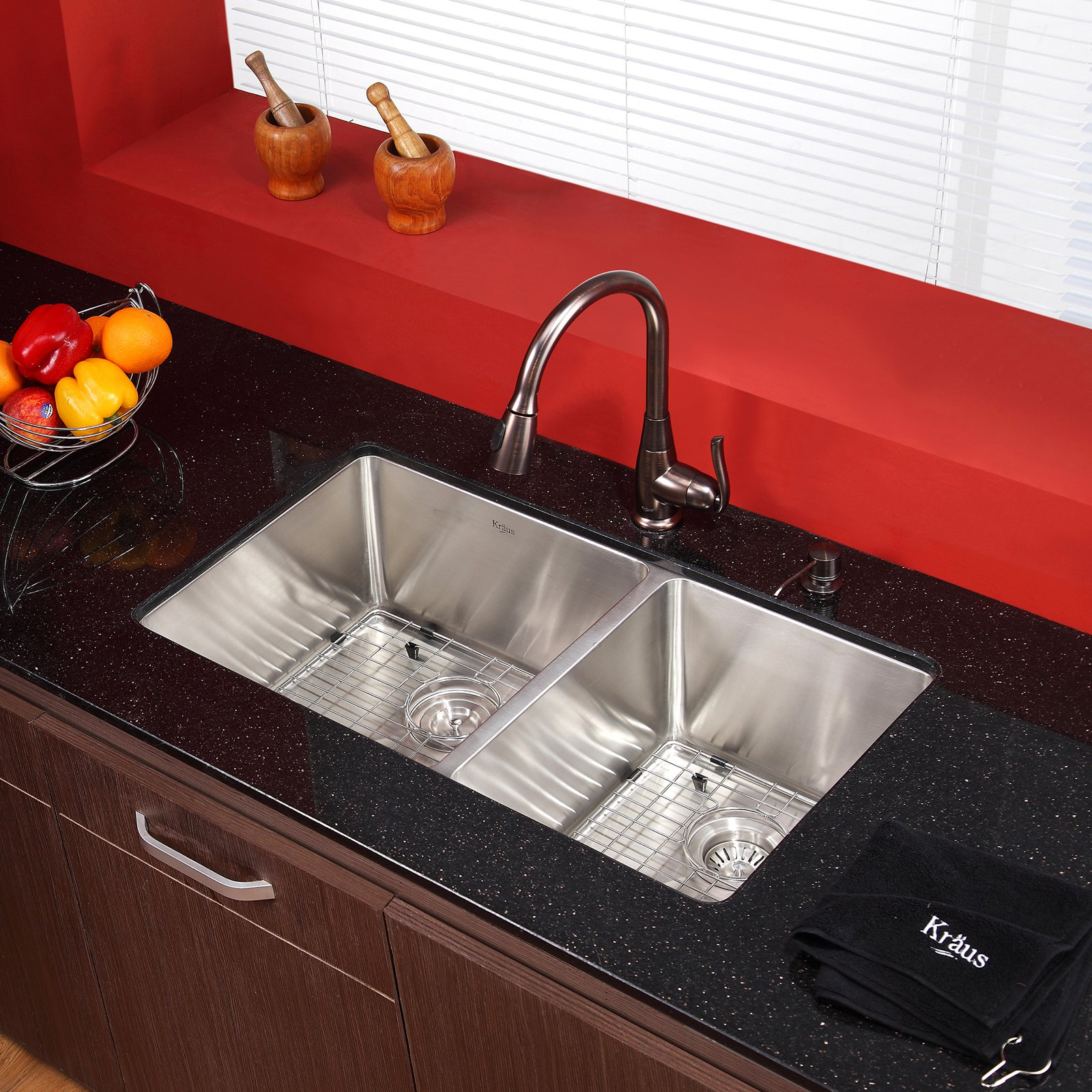 Kraus KHU103-33-KPF2230-KSD30 Double Basin Undermount Kitchen Sink with Faucet