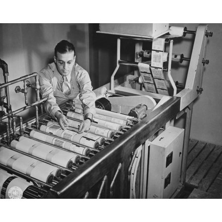 Paper reproductions from V-mail microfilm are developed on a paper processing machine 1943 Poster Print by Stocktrek - Paper Processing Machine