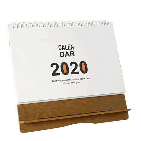 2019-2020 Standing Desk Calendar Flexible Monthly Wooden Desktop Decoration Stand Up Calendar For Office And Home Wood Calendar Frame