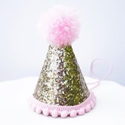 Gold Glitter Sparkles Pink Birthday Girl Cone Party Hat Toddler Pom Pom Party Hat Décor