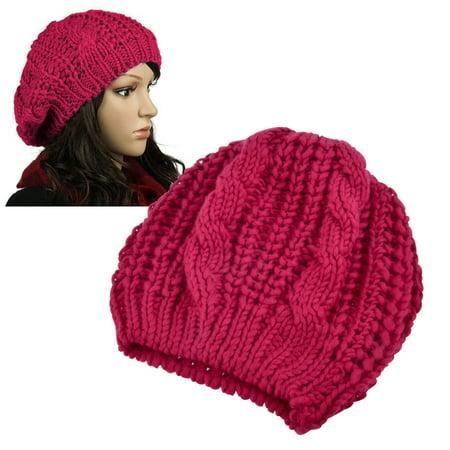 Zodaca Red Unisex Womens Mens Winter Warm Knit Beret Hat Beanie Crochet Ski Baggy Ball Cap Hat