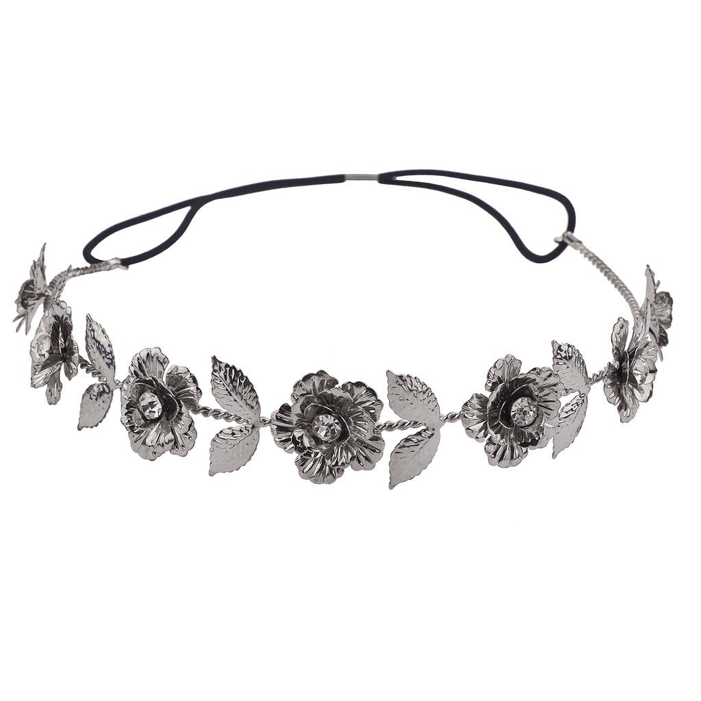 Lux Accessories Hematite Metal Floral Flower Hair Crown Stretch Headwrap