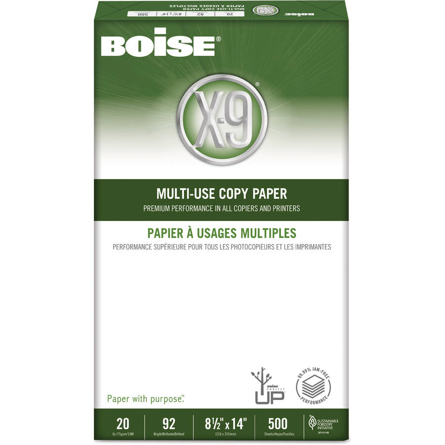 "Boise X-9 Copy Paper, 92 Brightness, 20 lb, 8-1/2"" x 14"", White, 5000 Sheets/Carton"