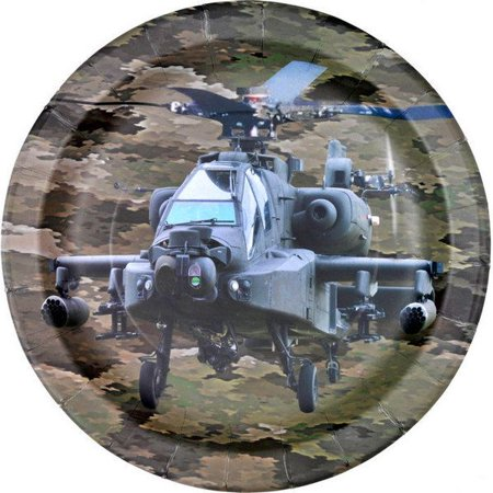 MILITARY CAMO APACHE HELICOPTER PARTY PLATE 9