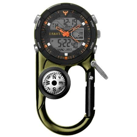 Clip Watch, Analog Digital Sports Waterproof Pocket Clip Watch, Moss Green