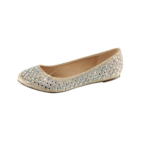 womens dress flats nude glitter mesh fabric round toe silver rhinestone shoes