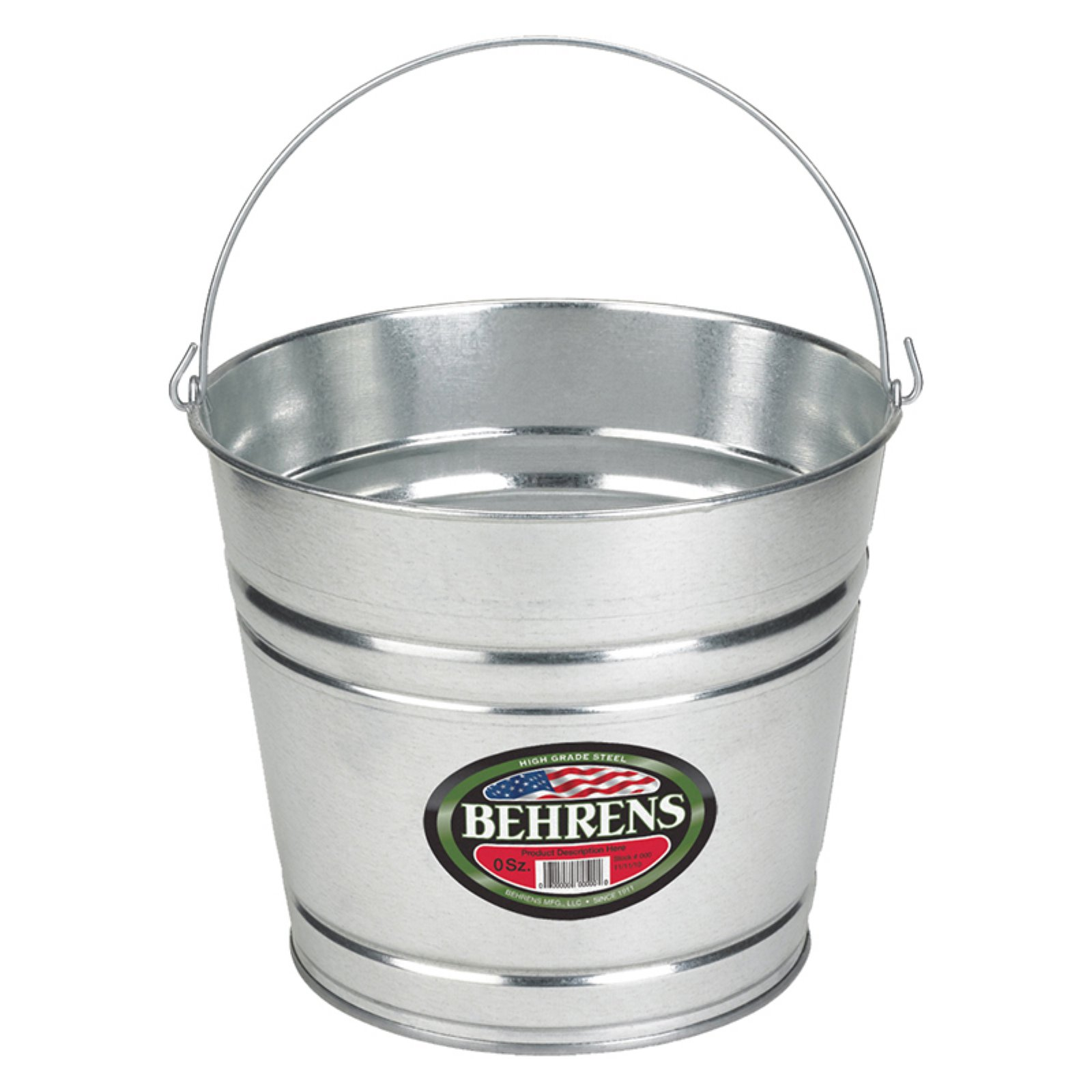 Behrens High Grade Steel 1208GS 8 Qt Silver Galvanized Steel Pail