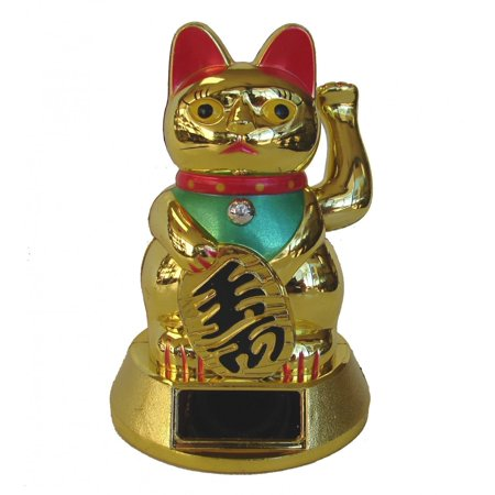 Solar Energy Golden Lucky Cat Statue By Feng Shui Import