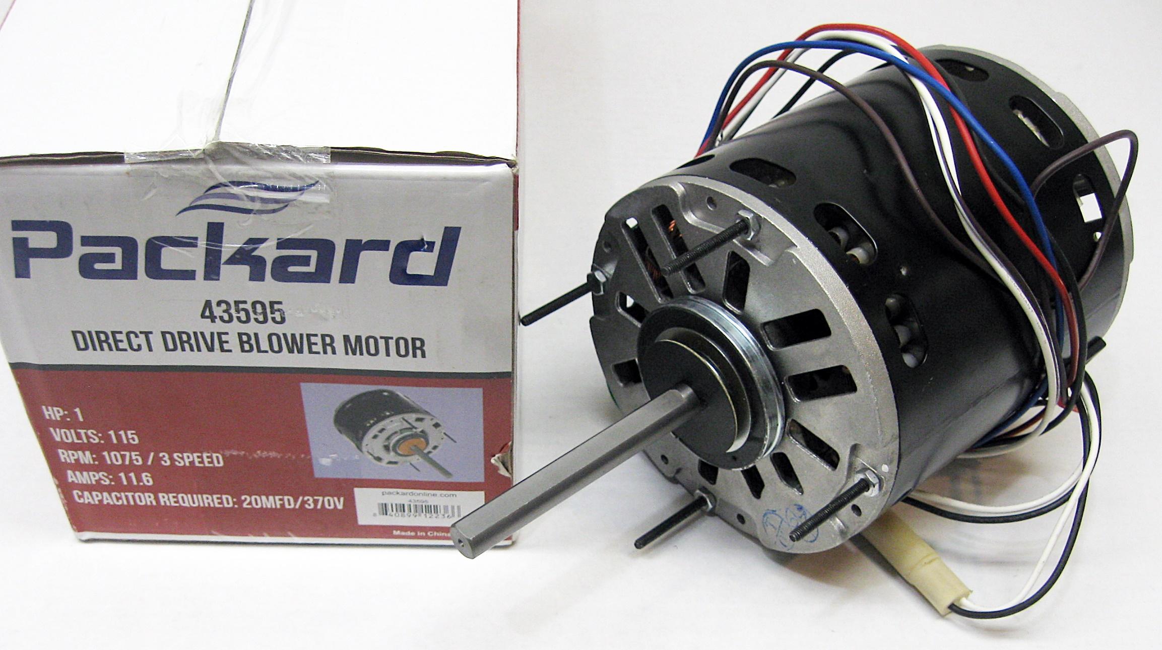 3 speed furnace blower fan motor packard 43595 1 hp 1075 rpm 115 volt 48  frame - walmart com