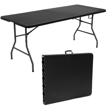goplus 6 39 folding table portable plastic picnic party dining camp tables indoor outdoor. Black Bedroom Furniture Sets. Home Design Ideas