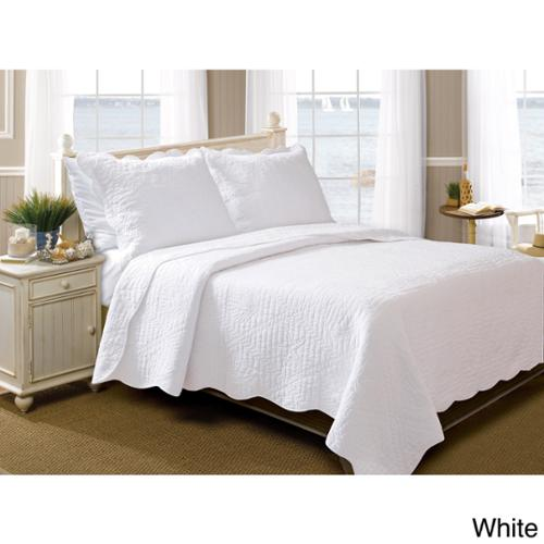 La Jolla Seashell Pure Cotton 3-piece Quilt Set White Twin