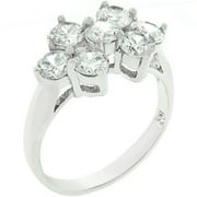 Sunrise Wholesale J3258 09 White Gold Rhodium Bonded CZ Cluster Ring