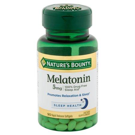 melatonin bounty nature 5mg softgels sleep aid each super sleeping walmart strength natures