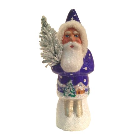 1409 - Schaller Paper Mache Candy Container - Santa Blue Coat with Tree