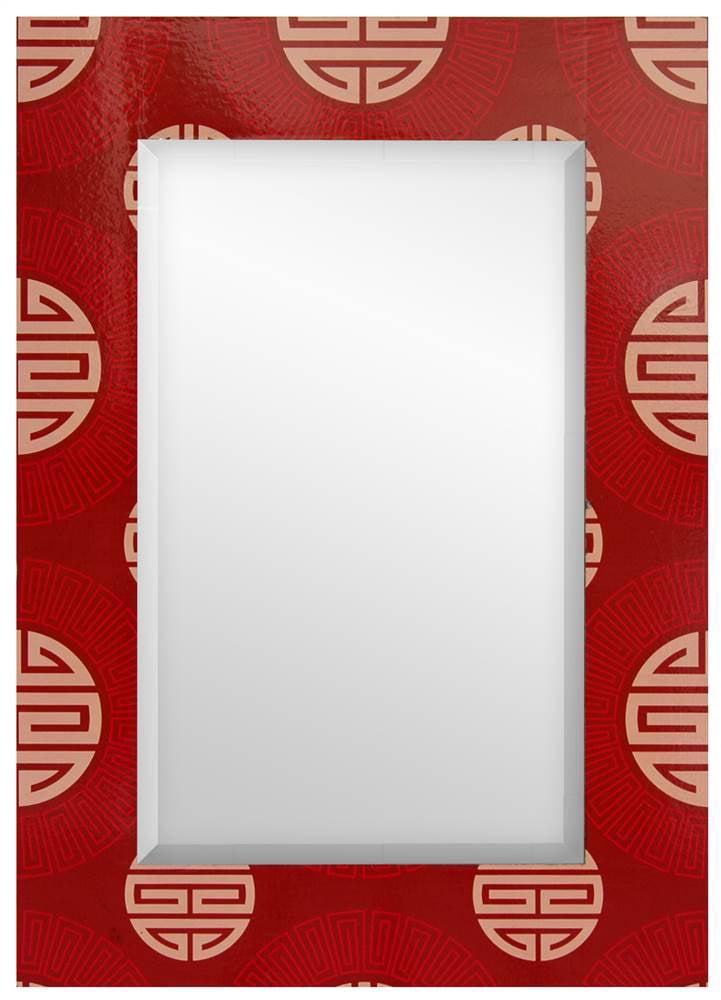 Red Shou Rectangular Mirror by Oriental Furniture
