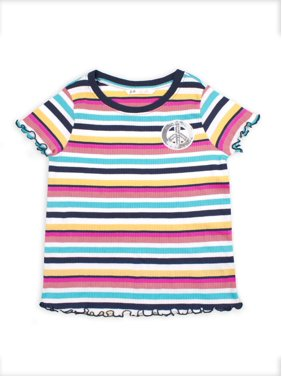 p.s.09 from aeropostale Ribbed Striped T-Shirt with Sequin Patch (Little Girls & Big Girls)