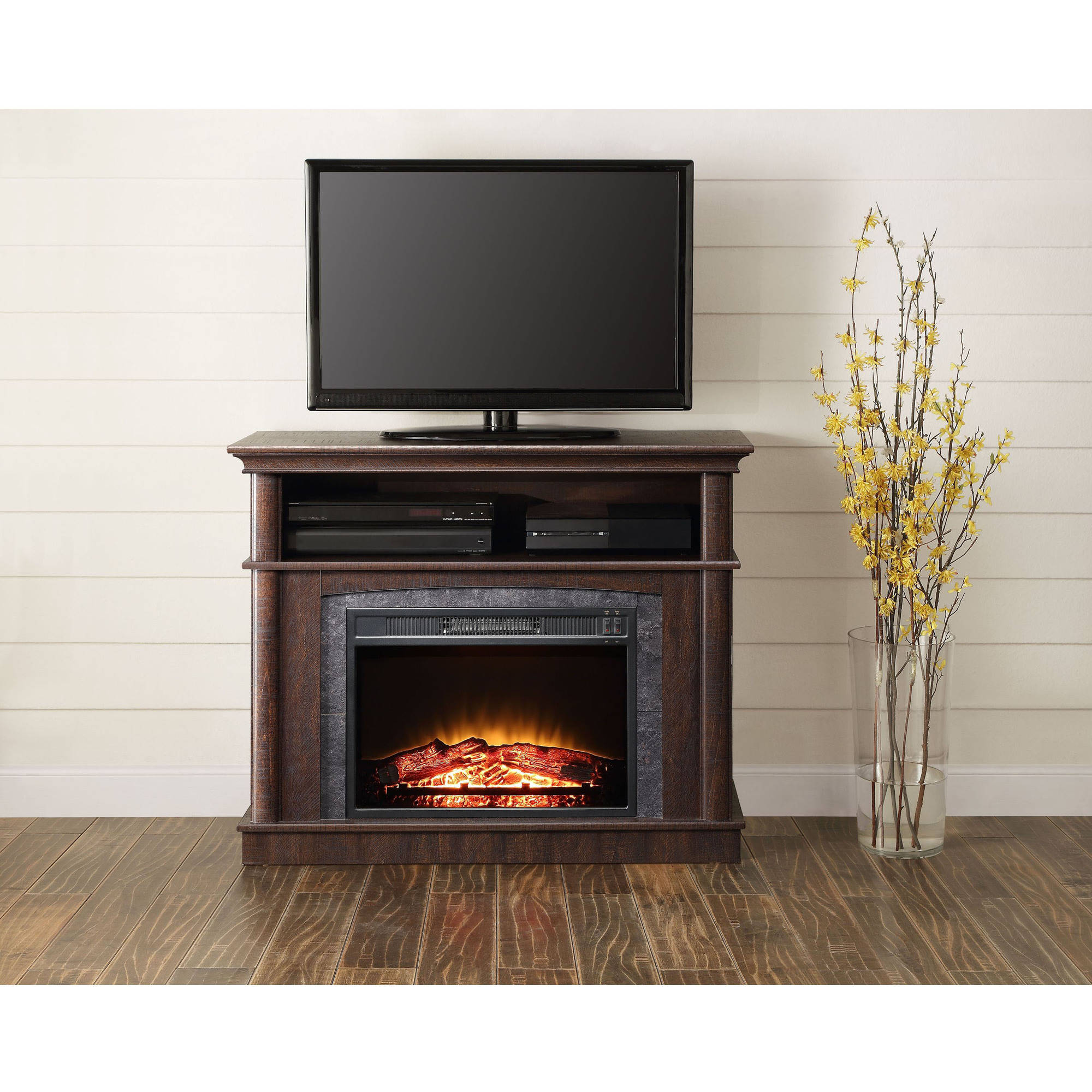 Whalen Fireplace Media Console For Tvs Up To 50 Rustic Brown