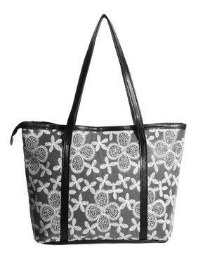 Women's Zipper Closure Flower Embroidery Panel Interior Pockets Totes