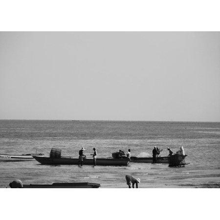 Framed Art For Your Wall Boat Fishing Boat Fishermen Beach Fishing ...