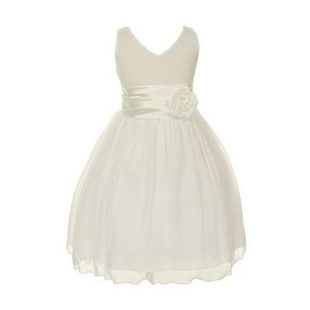 chiffon double v neck wedding flower girl dress, made in usa (6, white) (Girls In Nities)