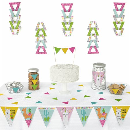 Whole Llama Fun - Triangle Llama Fiesta Baby Shower or Birthday Party Decoration Kit - 72 - Birthday Center Pieces