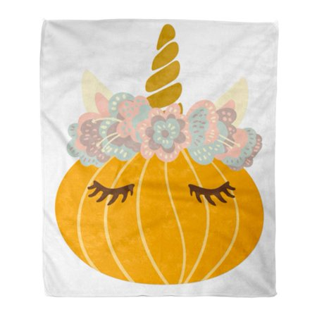 KDAGR Flannel Throw Blanket Magical Cute Sweet Little Pumpkin Dressed As Unicorn in Flower Crown to Celebrate Halloween Naive 50x60 Inch Lightweight Cozy Plush Fluffy Warm Fuzzy Soft