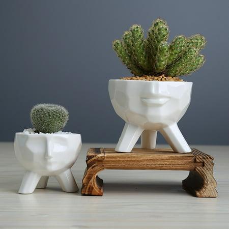 Humanoid Ceramic Flower Succulent Pot Vase Home Decoration Birthday Gift Cute - image 5 of 6