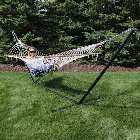 Sunnydaze Cotton Single Person Spreader Bar Rope Hammock With Stand 350 Pound Capacity