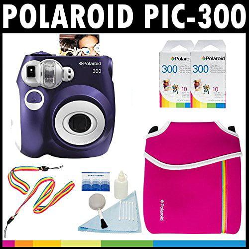 polaroid pic 300 instant film analog camera (purple) with