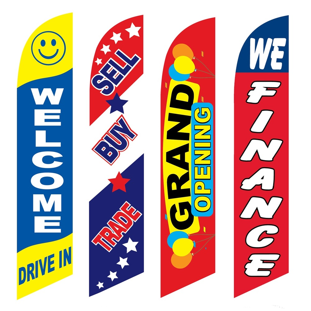 4 Advertising Swooper Flags Welcome Drive In Sell Buy Trade Grand Opening We Finance