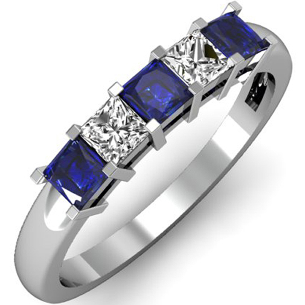 Dazzling Rock 14K White Gold Princess Blue Sapphire and W...