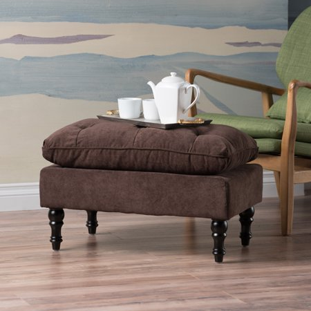 Cushioned Ottoman - Noble House Chocolate Brown Tufted Cushion Ottoman