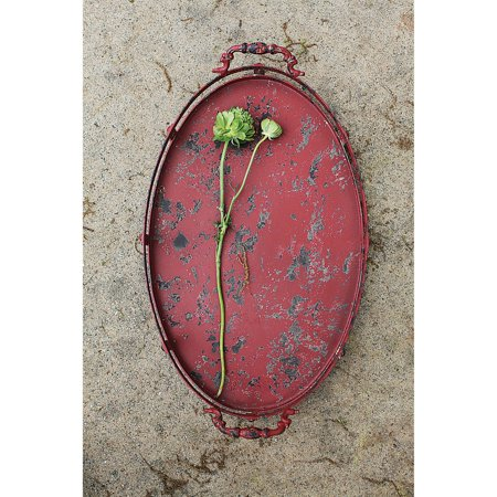 - 3R Studios Oval Distressed Red Tray with Handles