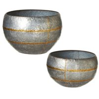 """Set of 2 Distressed Silver Oversize Round Galvanized Planter with Gold Stripe 23"""""""