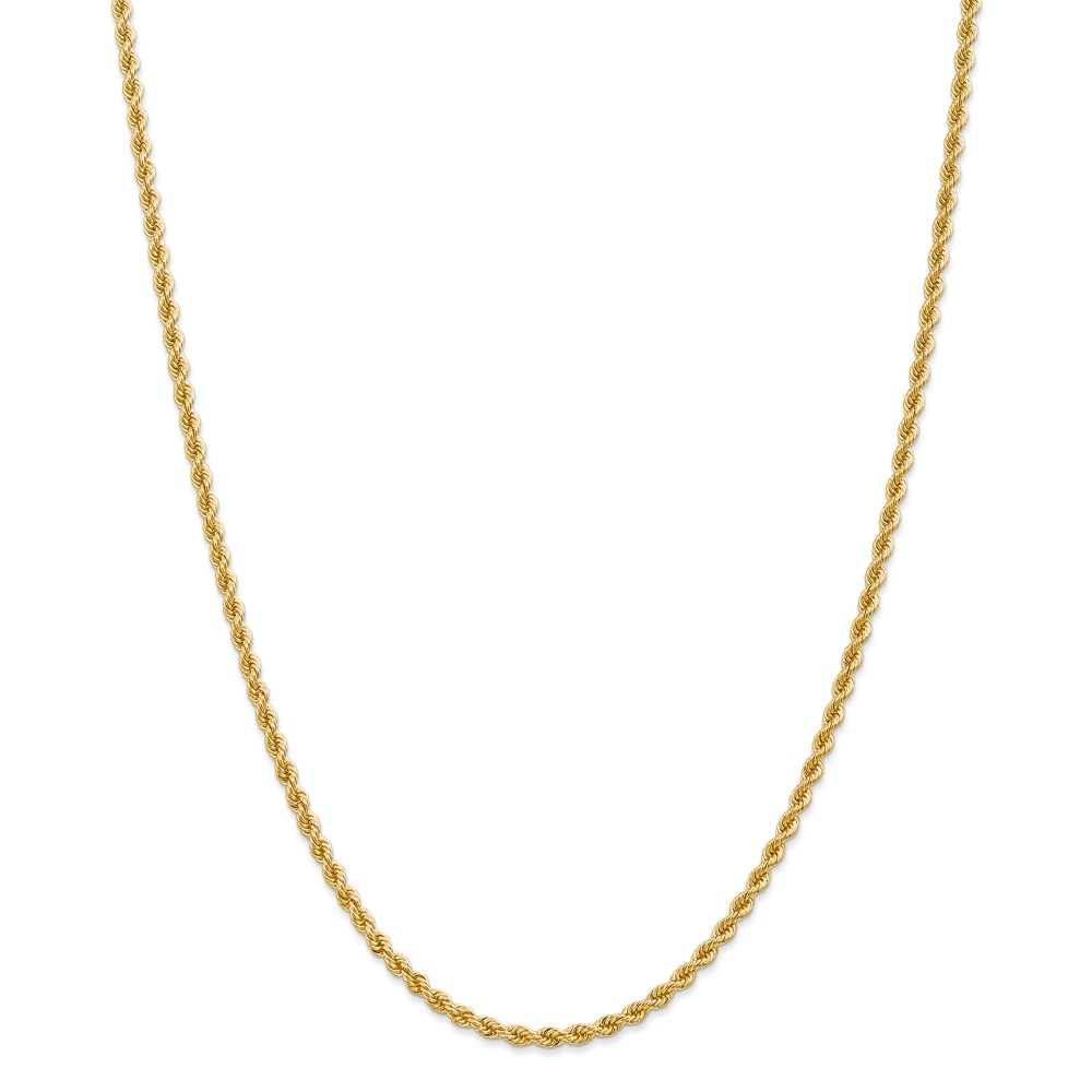 "14K Yellow Gold 2.75mm High Polished Regular Rope Necklace Chain -30"" (30in x 2.75mm) by"