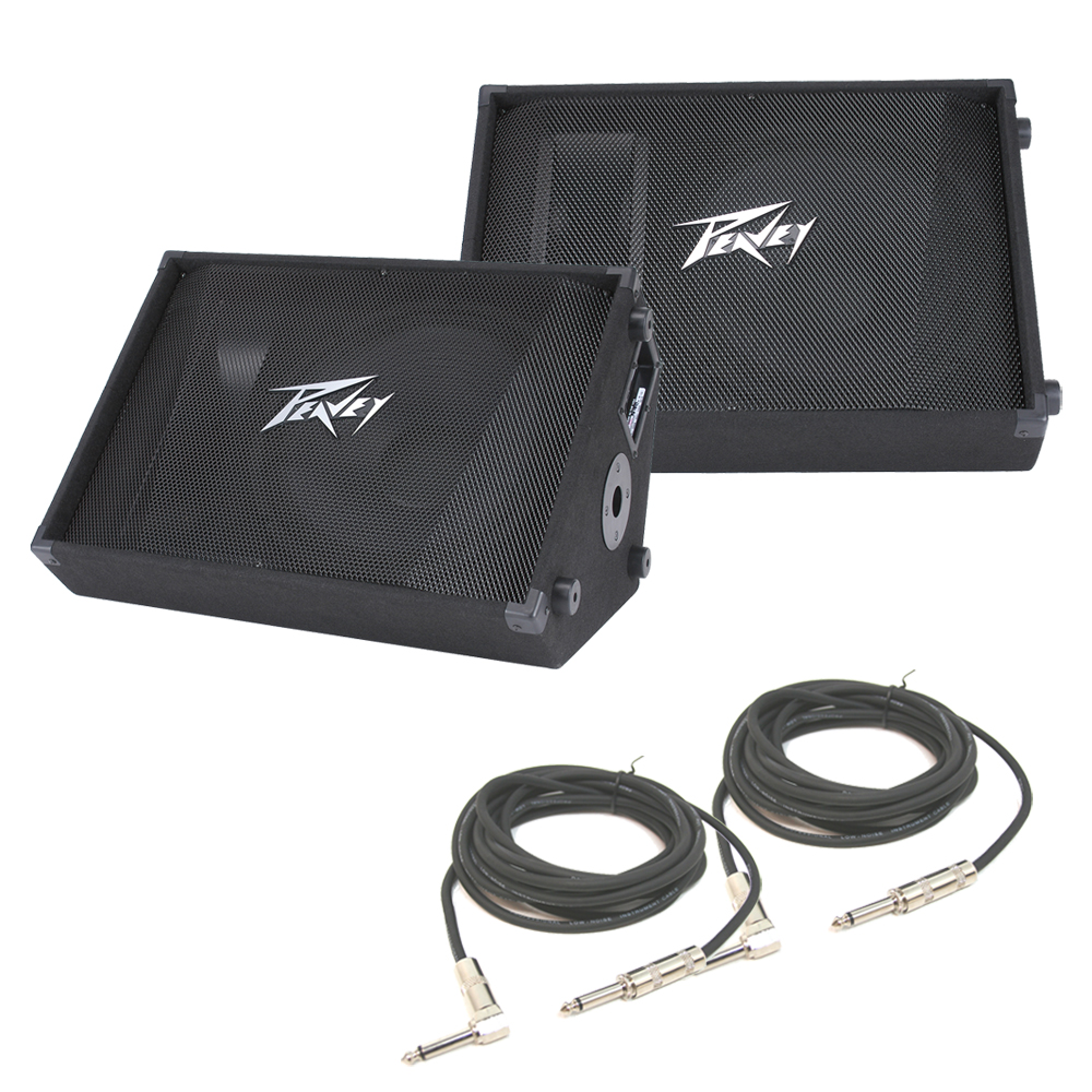 """(2) Peavey PV 15M Pro DJ Passive 15"""" Stage Monitor 1000W Speaker & 1/4"""" Cable"""