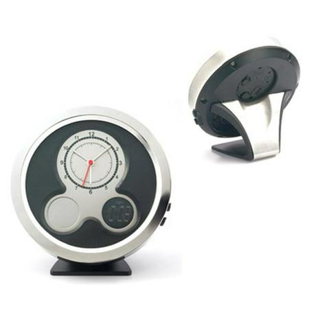 Aeropen International DT-60 Metal Desktop Dual-Face Analog and Digital Clock with Alarm Function in White Folded Box (Alarm Clock Analog And Digital)