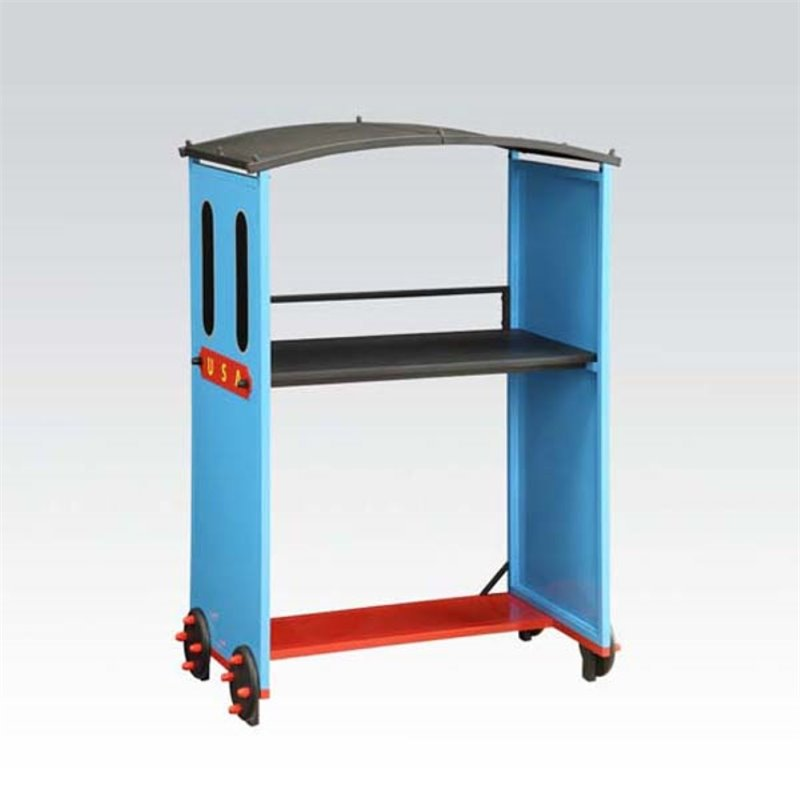 ACME Furniture Tobi Train Desk in Blue and Red and Black