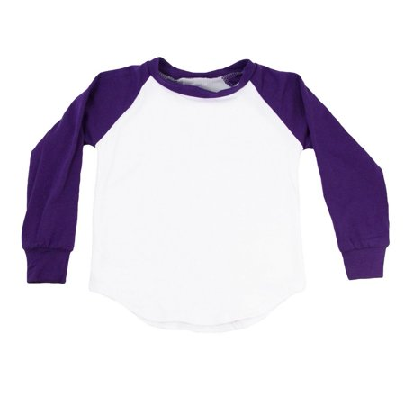 Unisex Little Kids Purple Two Tone Long Sleeve Raglan Baseball T-Shirt 2 Tone Tee